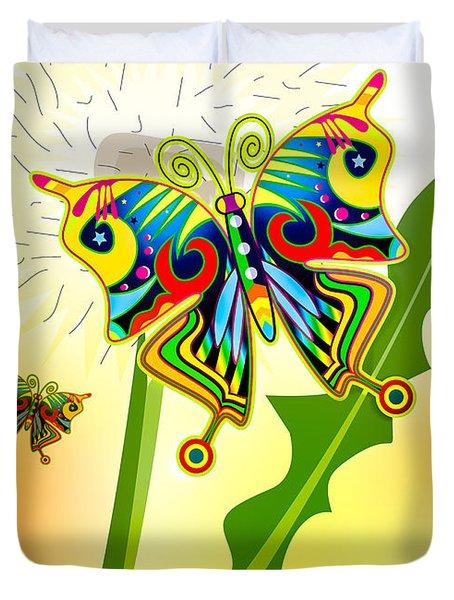 Happy Hippie Butterflies Duvet Cover by Bob Orsillo