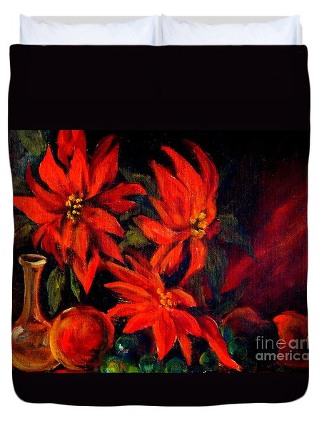 New Orleans Red Poinsettia Oil Painting Duvet Cover by Michael Hoard