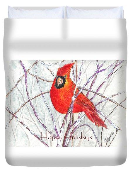 Happy Holidays Snow Cardinal Duvet Cover