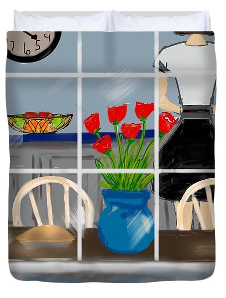 Duvet Cover featuring the digital art Happy Homemaker by Christine Fournier