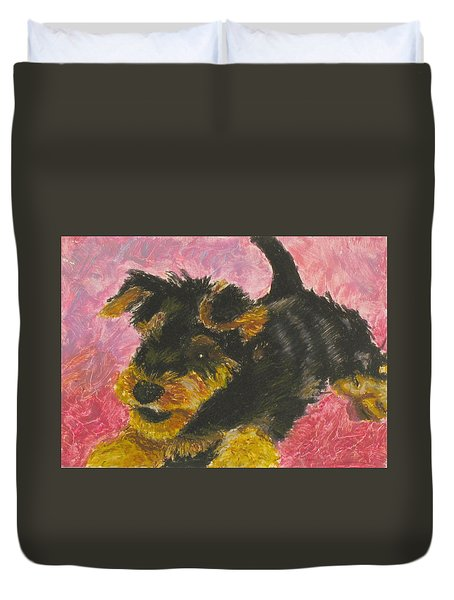 Duvet Cover featuring the painting Happy by Jeanne Fischer
