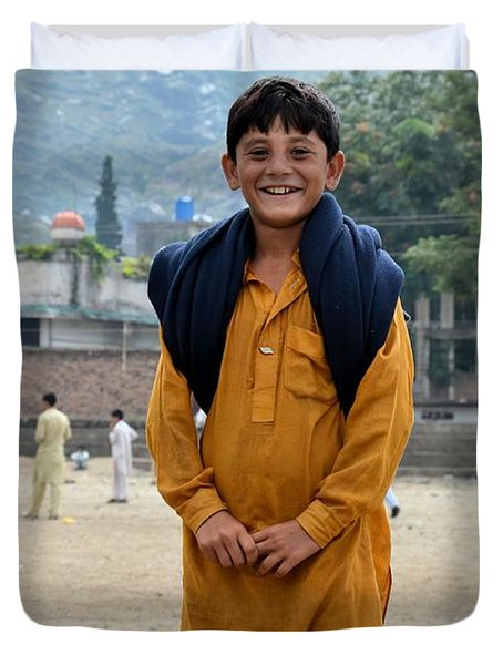 Duvet Cover featuring the photograph Happy Laughing Pathan Boy In Swat Valley Pakistan by Imran Ahmed