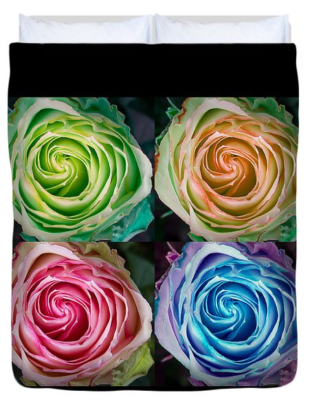 Happy Mothers Day Hugs Kisses And Colorful Rose Spirals Duvet Cover by James BO  Insogna