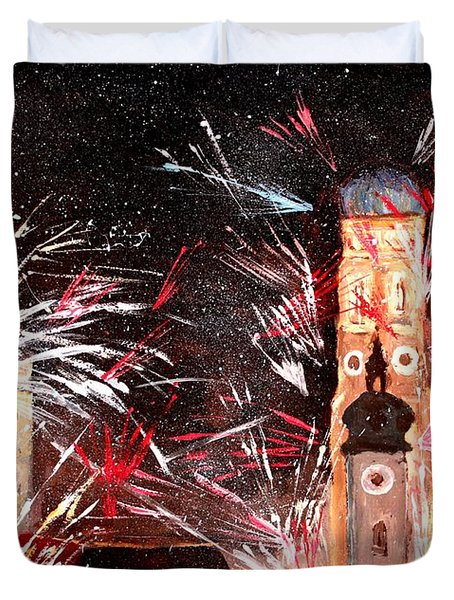 Happy New Year - With Fireworks In Munich Duvet Cover by M Bleichner