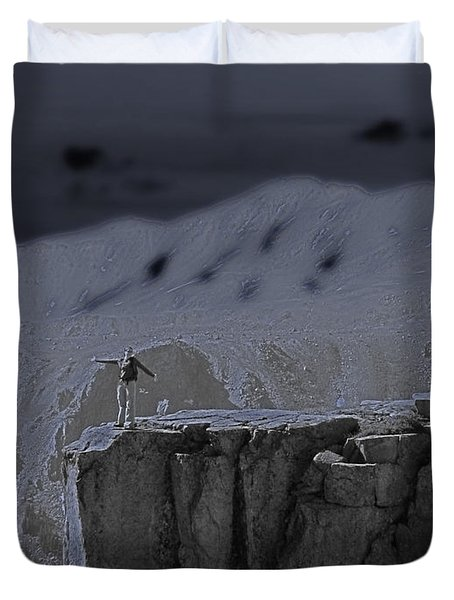 Happy On The Edge Duvet Cover by Jeremy Rhoades