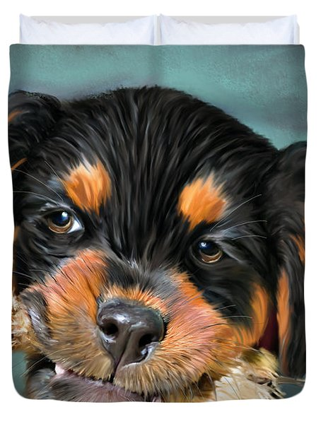 Happy Puppy Duvet Cover by Angela A Stanton