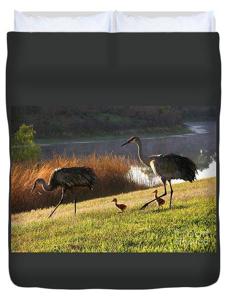 Happy Sandhill Crane Family Duvet Cover by Carol Groenen