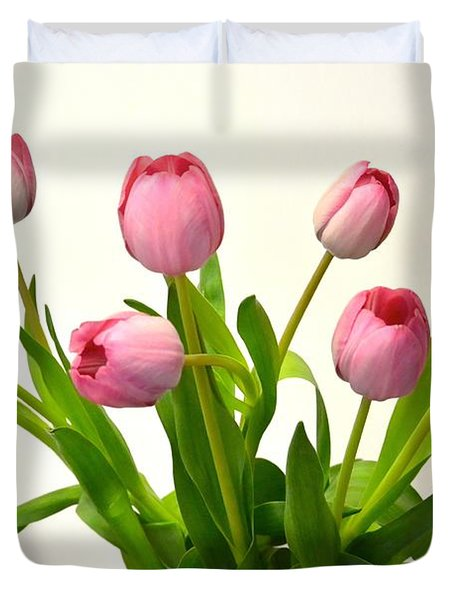 Duvet Cover featuring the digital art Happy Spring Pink Tulips 2 by Jeannie Rhode