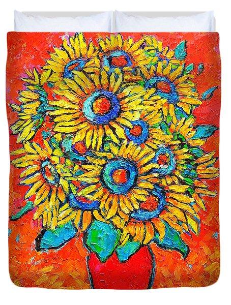 Happy Sunflowers Duvet Cover by Ana Maria Edulescu