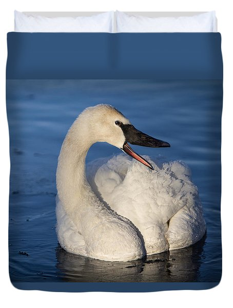 Happy Swan Duvet Cover by Patti Deters
