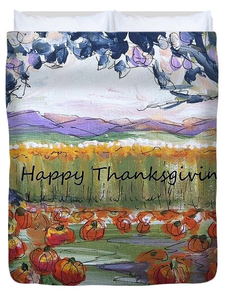 Happy Thanksgiving Greeting Card Duvet Cover