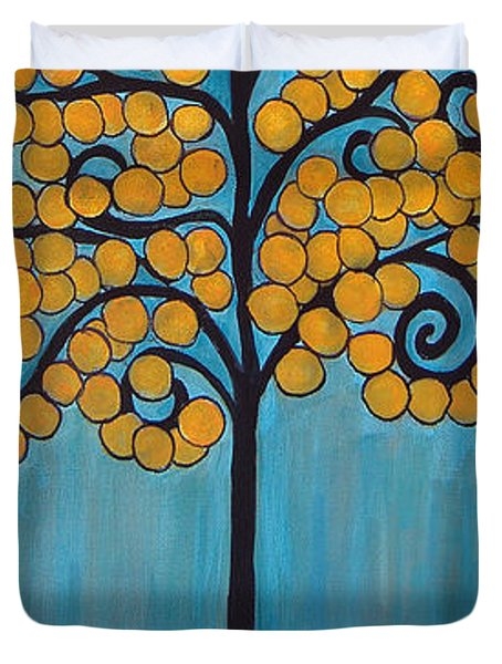 Happy Tree In Blue And Gold Duvet Cover