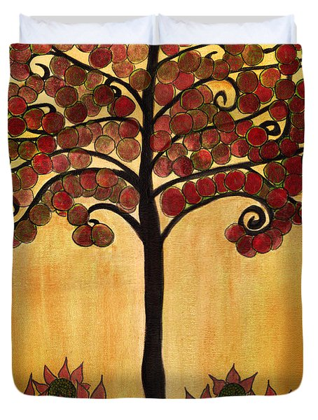 Happy Tree In Red Duvet Cover