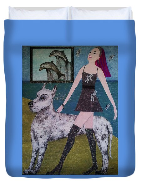 Happy Walk By Jasna Gopic Duvet Cover
