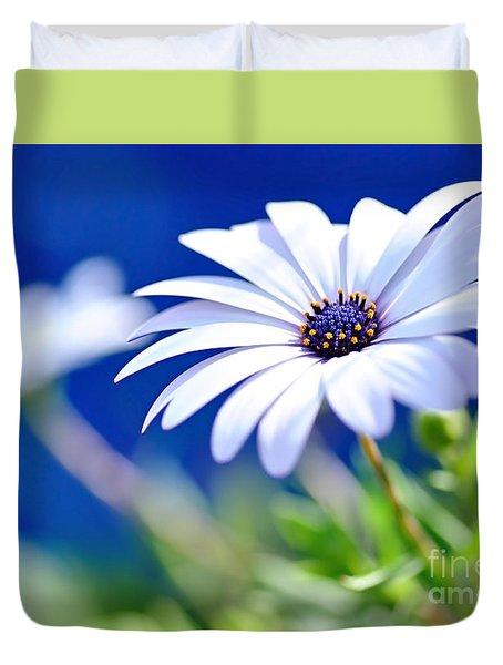 Happy White Daisy 2- Blue Bokeh  Duvet Cover by Kaye Menner