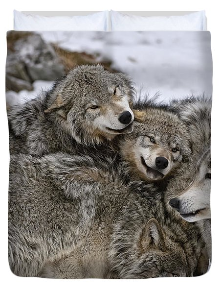 Duvet Cover featuring the photograph Happy Wolf Pack by Wolves Only