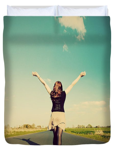 Happy Woman Standing On Empty Road Retro Vintage Style Duvet Cover by Michal Bednarek