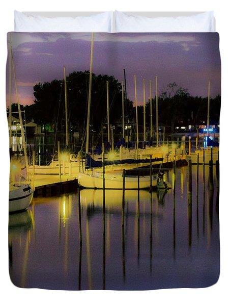 Harbor At Night Duvet Cover