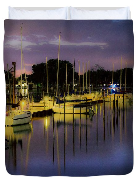 Harbor At Night Duvet Cover