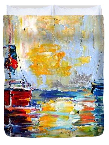 Harbor Boats At Sunrise Duvet Cover by Karen Tarlton