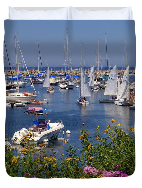 Duvet Cover featuring the photograph Harbor In Bloom by Caroline Stella