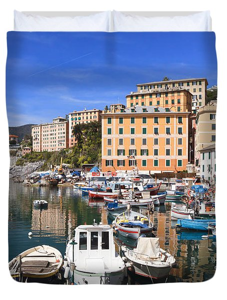 harbor in Camogli - Italy Duvet Cover by Antonio Scarpi