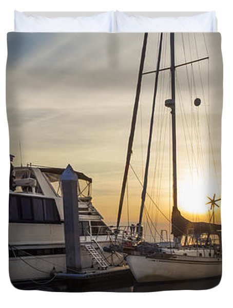 Harbor Light Duvet Cover by Debra and Dave Vanderlaan