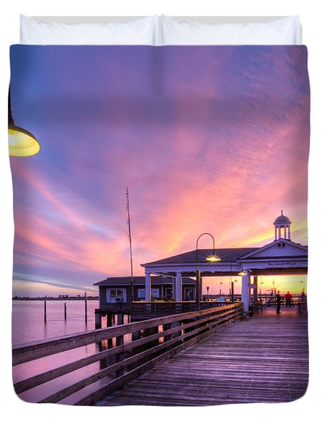 Harbor Lights Duvet Cover by Debra and Dave Vanderlaan