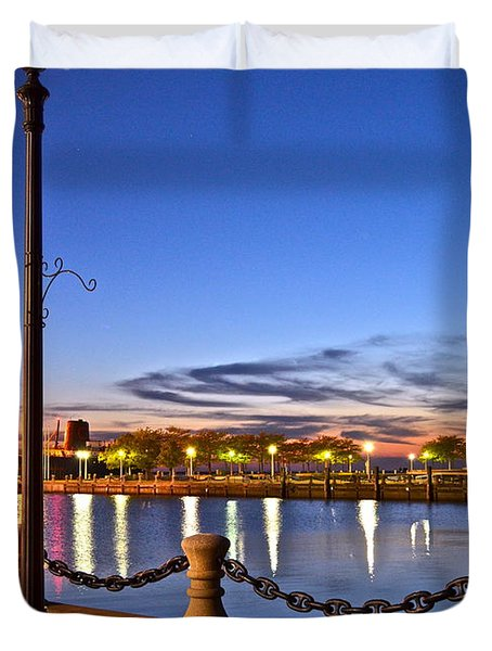 Harbor Lights Duvet Cover by Frozen in Time Fine Art Photography