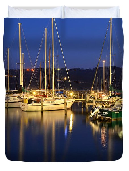 Harbor Nights Duvet Cover by Frozen in Time Fine Art Photography