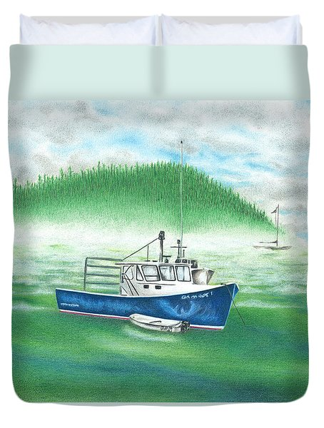 Duvet Cover featuring the drawing Harbor by Troy Levesque