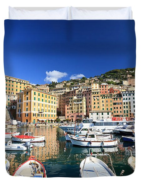 Duvet Cover featuring the photograph Harbor With Fishing Boats by Antonio Scarpi