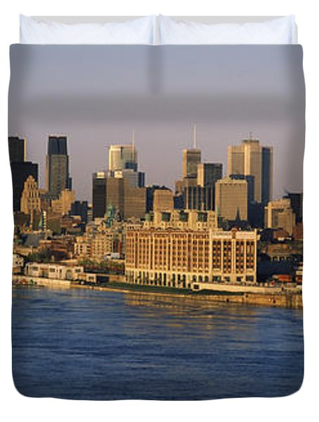 Harbor With The City Skyline, Montreal Duvet Cover