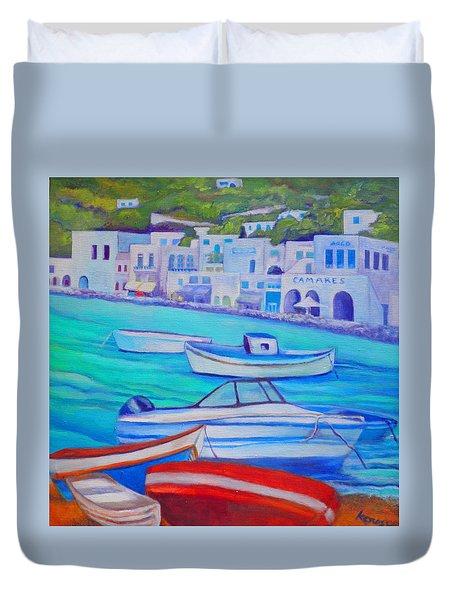 Harborfront Mykonos Duvet Cover