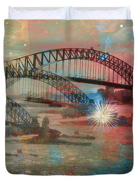 Duvet Cover featuring the photograph Harbour In Abstraction by Leanne Seymour
