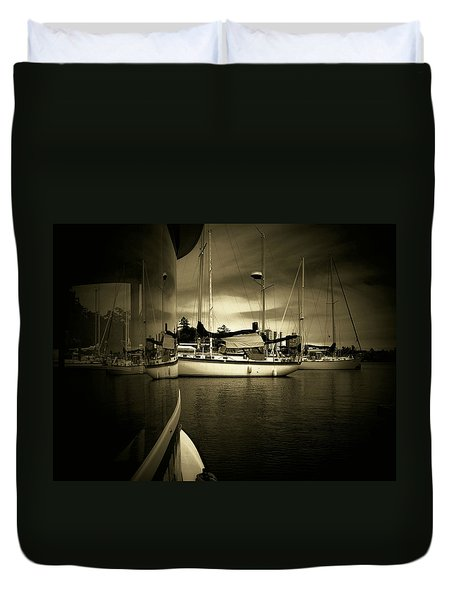Duvet Cover featuring the photograph Harbour Life by Micki Findlay