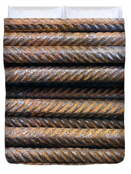 Hard Metal Rebar Pattern Duvet Cover