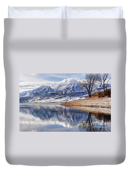 Hardy Fishermen Deer Creek Reservoir And Timpanogos In Winter Duvet Cover by Gary Whitton