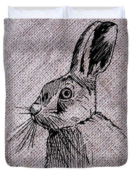Hare On Burlap Duvet Cover