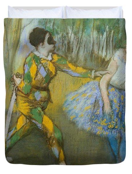 Harlequin And Columbine Duvet Cover by Edgar Degas