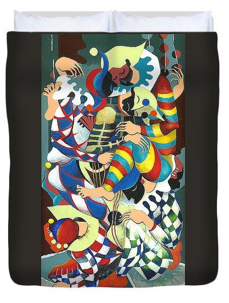 Harlequins Acting Weird - Why?... Duvet Cover by Elisabeta Hermann
