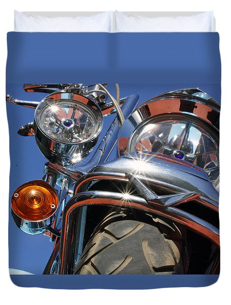 Duvet Cover featuring the photograph Harley Close Up by Shoal Hollingsworth