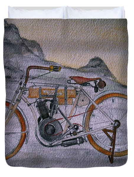 Duvet Cover featuring the painting Harley Davidson 1907 Bike by Pristine Cartera Turkus