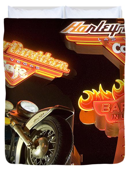 Harley Davidson Cafe Duvet Cover by Bob Christopher