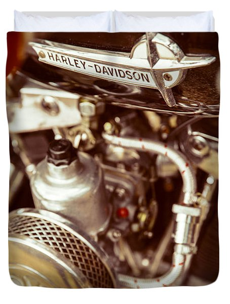 Duvet Cover featuring the photograph Harley Davidson Closeup by Carsten Reisinger