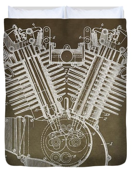 Harley Davidson Engine Duvet Cover by Dan Sproul
