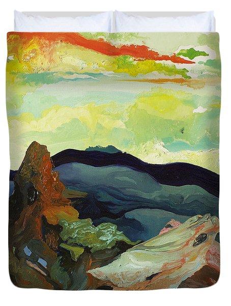 Harmonica Under Firewood Duvet Cover by Joseph Demaree
