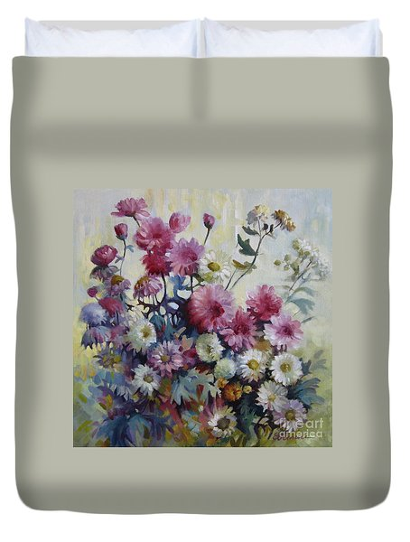 Duvet Cover featuring the painting Harmonies Of Autumn by Elena Oleniuc