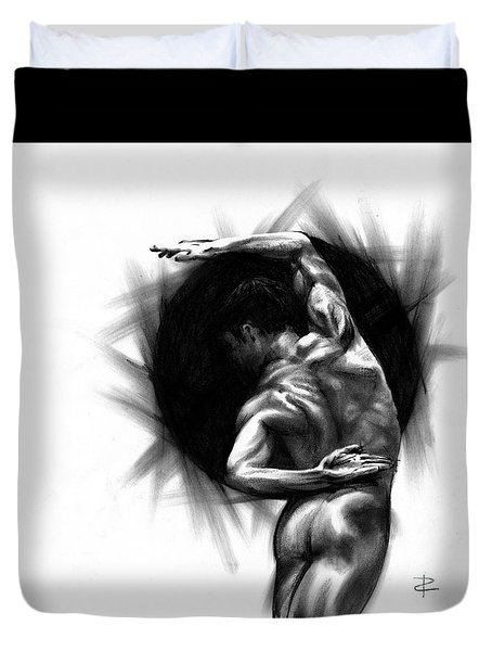 Duvet Cover featuring the drawing Harmony by Paul Davenport