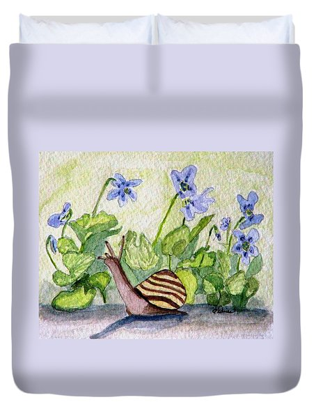 Duvet Cover featuring the painting Harold In The Violets by Angela Davies
